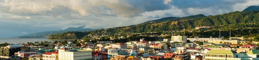 Amazing view of Roseau, Dominica at dusk