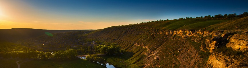 Raut river and mountains at sunset in Moldova